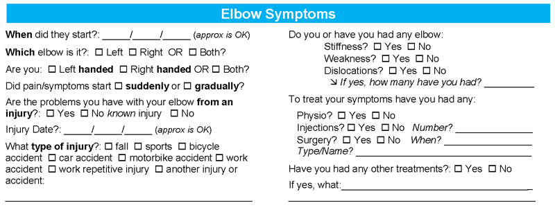 Elbow Symptoms Questionnaire - Sydney Shoulder Specialist Surgeons