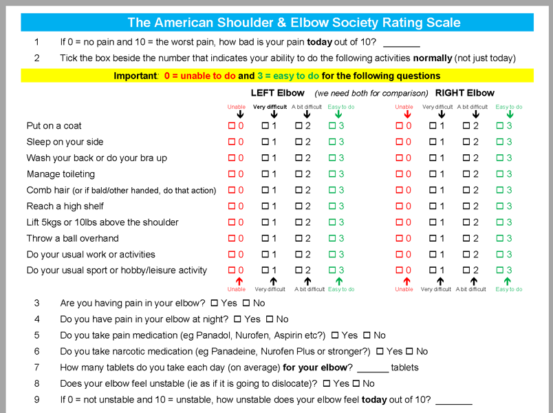 The American Shoulder & Elbow Society Rating Scale (Elbow)