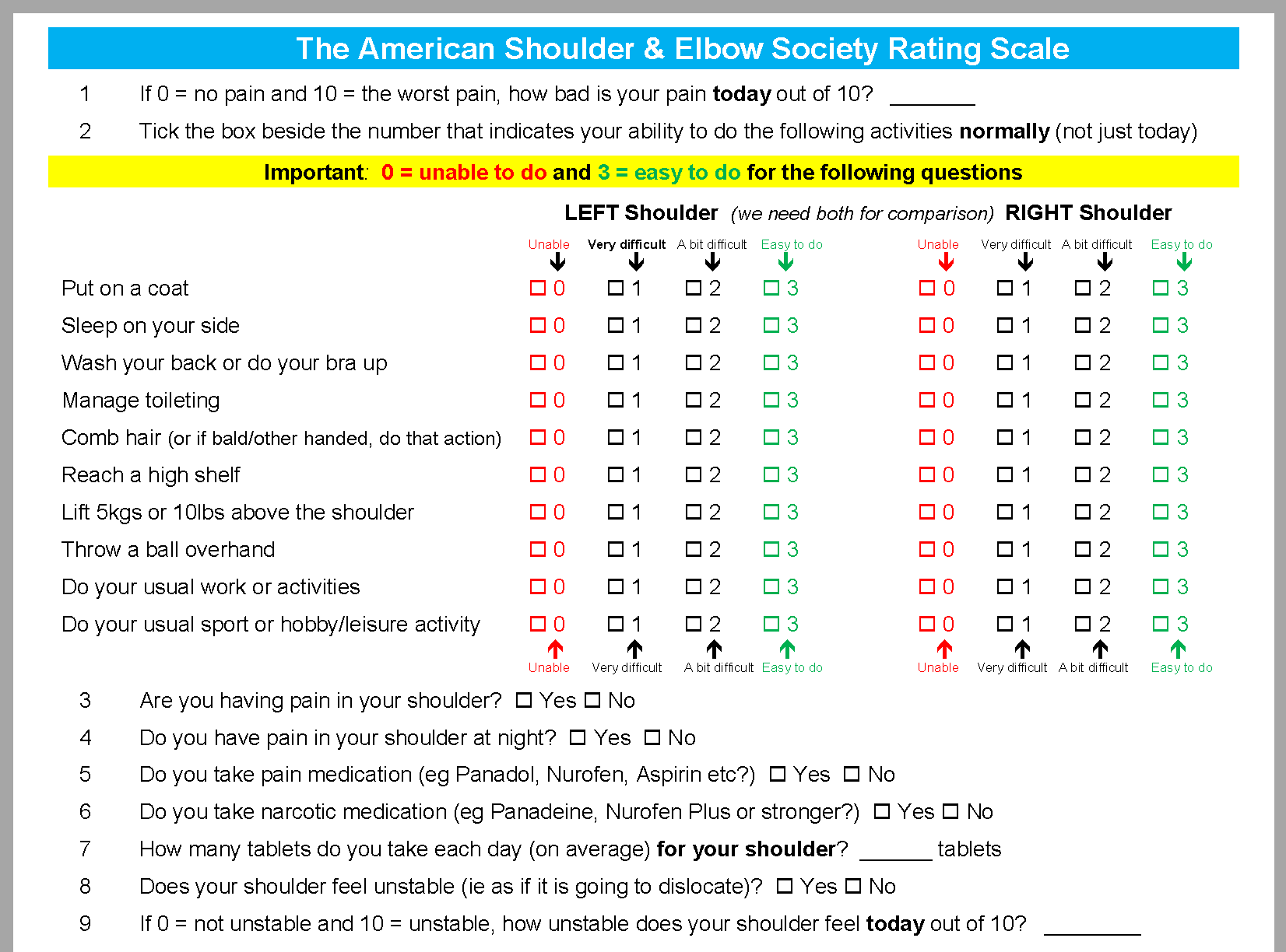 The American Shoulder & Elbow Society Rating Scale (Shoulder)