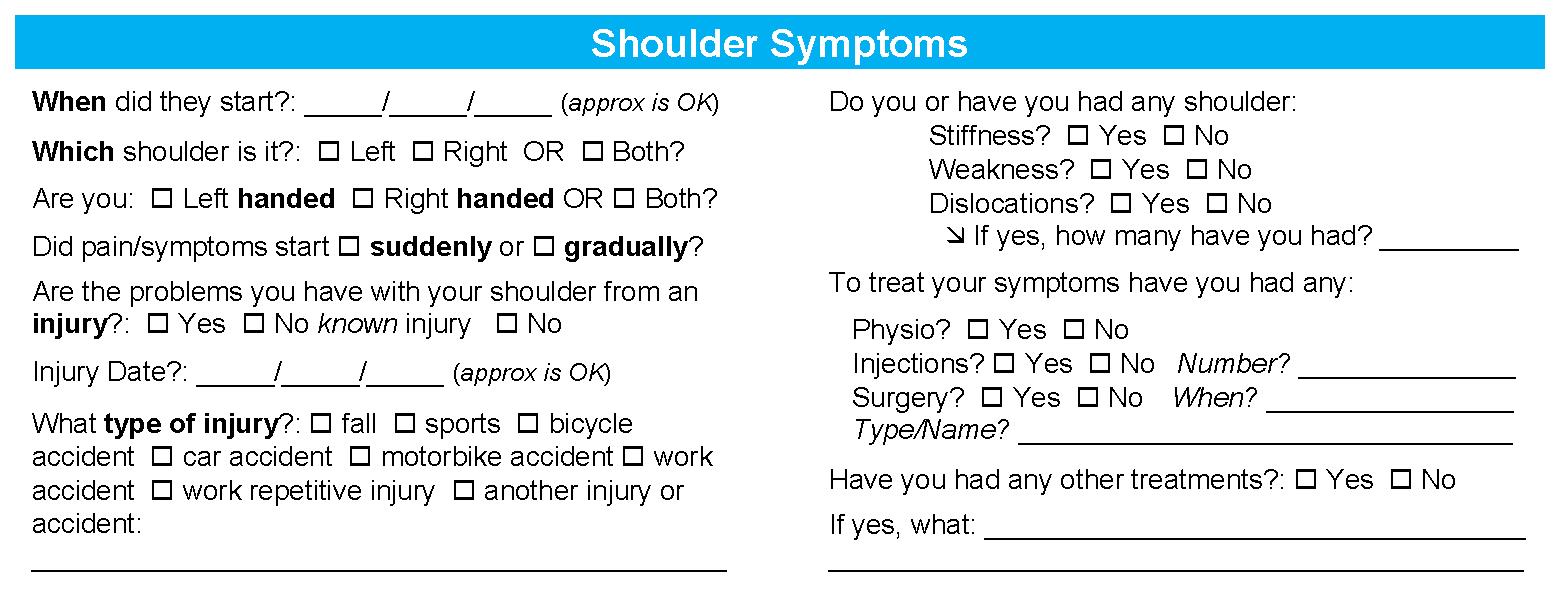 Shoulder Symptoms Questionnaire - Sydney Shoulder Specialist Surgeons